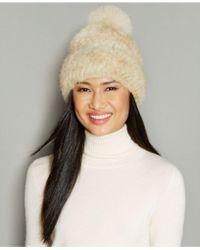 The Fur Vault Fox-fur-pom Knitted Mink Fur Beanie - Natural