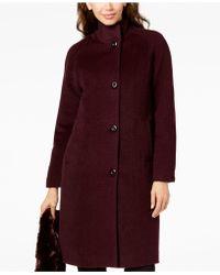Jones New York Petite Faux-fur-scarf Walker Coat - Red