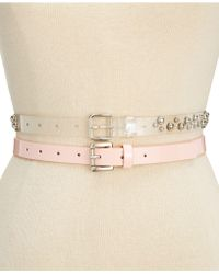 Steve Madden - 2-for-1 Clear Studded & Patent Belts - Lyst