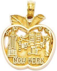 Macy's - 14k Gold Charm, Cut-out New York City Skyline Apple Charm - Lyst