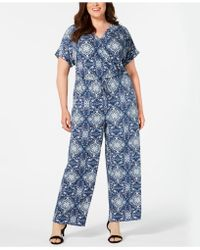 Style & Co. V-neck Printed Knit Jumpsuit, Created For Macy's - Blue