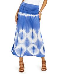 Style & Co. Petite Tie-dyed Convertible Skirt, Created For Macy's - Blue