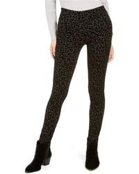 Style & Co. Cheetah Flocked Ponté-knit Leggings, Created For Macy's - Black