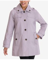 London Fog Single-breasted Hooded Raincoat - Purple