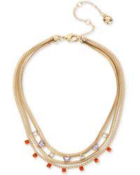 "BCBGeneration Gold-tone Stone Layered Necklace, 13"" + 3"" Extender - Metallic"