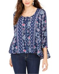 Style & Co. Printed Top, Created For Macy's - Blue