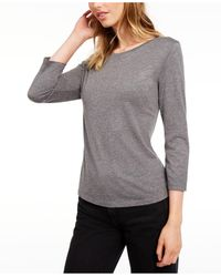Maison Jules 3/4-sleeve Solid T-shirt, Created For Macy's - Gray