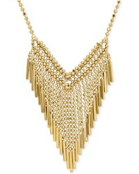 Macy's - Graduated Beaded Frontal Necklace In 14k Gold - Lyst