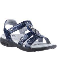 Therafit Shoe Charlotte Embossed Jeweled Adjustable Sandal - Blue