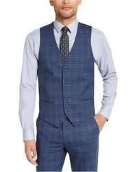 Alfani Slim-fit Stretch Navy Blue Plaid Suit Vest, Created For Macy's