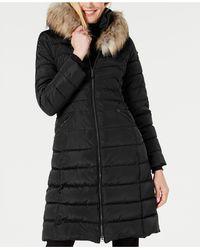 Laundry by Shelli Segal Faux-fur-trim Hooded Puffer Coat - Black