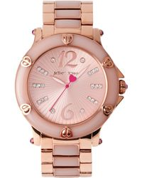 Betsey Johnson - Women's Blush Epoxy And Rose Gold-tone Stainless Steel Bracelet Watch 41mm Bj00459-04 - Lyst