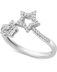 Wrapped in Love ? Diamond Star By-pass Ring (1/6 Ct. T.w.) In 14k White Gold, Created For Macy's - Multicolor