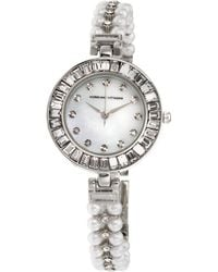 Adrienne Vittadini Silver Quartz Watch With Roman Numerals And Mother Of Pearl Dial And Stone Accent Strap - Metallic