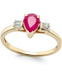Macy's | Ruby (3/4 Ct. T.w.) And Diamond (1/8 Ct. T.w.) Ring In 14k Gold | Lyst