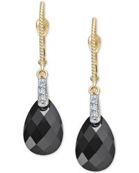 Macy's Onyx Briolette (12 X 10mm) & Diamond Accent Drop Earrings In 14k Gold - Metallic