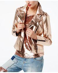 INC International Concepts - Metallic Faux-leather Moto Jacket - Lyst