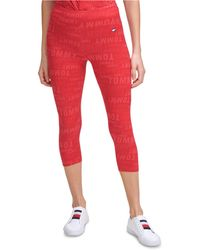 Tommy Hilfiger Sport Printed Athletic Capris - Red