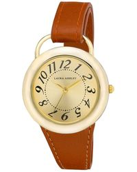 Laura Ashley Ladies' Tan Band Sunray Dial Sterrup Case Push Pin Closure Watch - Brown