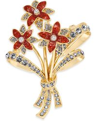 Charter Club Gold-tone Crystal & Imitation Pearl Flower Bouquet Pin, Created For Macy's - Metallic