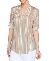 Ruby Rd. Petite Striped Utility Shirt - Natural