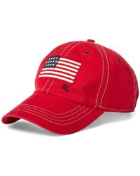 ce104e0d6b8ad Polo Ralph Lauren Men s Chino Flag Graphic Cap in Red for Men - Lyst