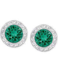 Swarovski - Silver-tone Green Crystal Halo Stud Earrings - Lyst