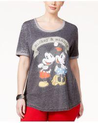 Hybrid Trendy Plus Size Mickey & Minnie Graphic T-shirt - Gray
