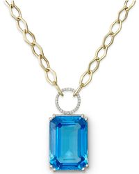 Macy's - 14k Gold Necklace, Blue Topaz (70 Ct. T.w.) And Diamond (1/4 Ct. T.w.) Pendant - Lyst