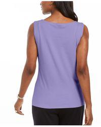 Karen Scott Cotton Scoop-neck Top, Created For Macy's - Purple
