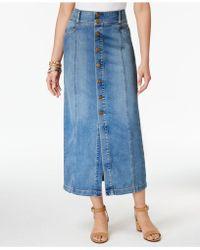 Style & Co. Button-front Denim Skirt - Blue