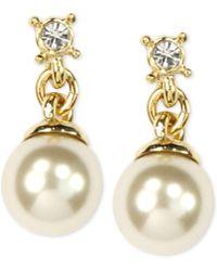 Anne Klein - Gold-tone Imitation Pearl Drop Earrings - Lyst