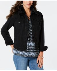 Style & Co. - Faux-fur-trim Denim Trucker Jacket, Created For Macy's - Lyst