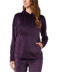 32 Degrees Velour Drop-shoulder Hoodie - Purple