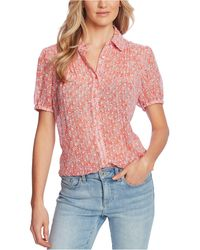 Cece Printed Pintuck-pleat Blouse - Red