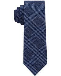 Michael Kors Statement Check Slim Tie - Blue
