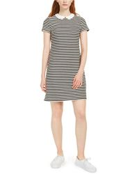 Maison Jules Collared Striped T-shirt Dress, Created For Macy's - Black