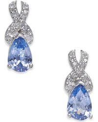 Macy's - Tanzanite (3/4 Ct. T.w.) & Diamond (1/8 Ct. T.w.) Drop Earrings In 14k White Gold - Lyst