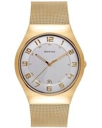 Bering Classic Gold-tone Stainless Steel Mesh Bracelet Watch 37mm - Metallic