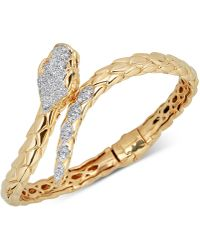 Macy's - Diamond Snake Bypass Bangle Bracelet (1/2 Ct. T.w.) In 14k Gold-plated Sterling Silver - Lyst