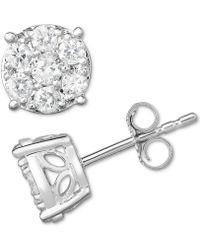 a476e2174 Macy's Diamond Square Cluster Stud Earrings (1/2 Ct. T.w.) In 14k ...