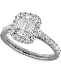 Macy's Diamond Halo Engagement Ring (1 Ct. T.w.) In 14k White Gold - Metallic