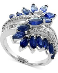 Effy Collection Sapphire (3-1/5 Ct. T.w.) And Diamond (3/8 Ct. T.w.) Ring In 14k White Gold (also In Tanzanite) - Multicolour