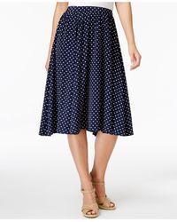 Charter Club Petite Dot-print A-line Skirt - Blue