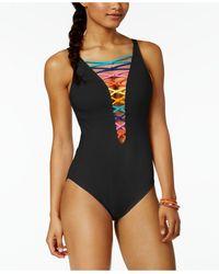 Bleu Rod Beattie - Lattice-front Rainbow One-piece Swimsuit - Lyst