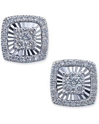 Macy's - Diamond Square-style Miracle Plate Stud Earrings (1/4 Ct. T.w.) In 14k White Gold - Lyst