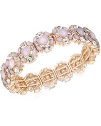 Charter Club - Rose Gold-tone Crystal & Pink Stone Stretch Bracelet - Lyst