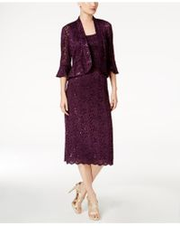 R & M Richards - Sequined Lace Midi Dress And Jacket - Lyst