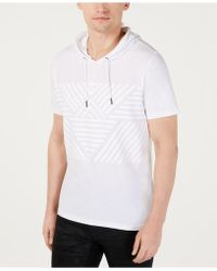 INC International Concepts Throwback Short-sleeve Hoodie, Created For Macy's - White