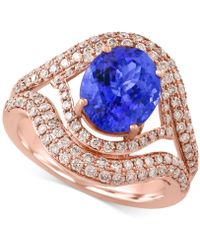 Effy Collection - Tanzanite (2-5/8 Ct. T.w.) And Diamond (9/10 Ct. T.w.) Ring In 14k Rose Gold - Lyst